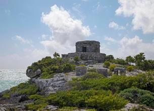 Mayan Ruins, Tulum, Quintana Roo, Riviera Maya, Mexicoの写真素材 [FYI02707228]