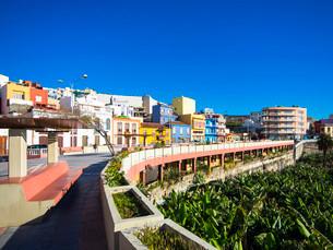 Colourful houses, Puerto de Tazacorte, La Palma, Canaryの写真素材 [FYI02707241]