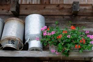 Milk cans drying at a mountain inn, farmhouseの写真素材 [FYI02707290]