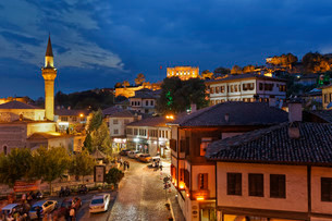 Historic centre at night, Safranbolu, Karabuk provinceの写真素材 [FYI02707308]