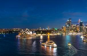 Circular Quay and The Rocks at night, skyline with Sydneyの写真素材 [FYI02707313]