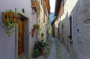 Narrow alley in the Old Town of Cannobio, Lago Maggioreの写真素材 [FYI02707347]