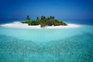 Uninhabited palm island with sandy beach, offshore coralの写真素材 [FYI02707353]