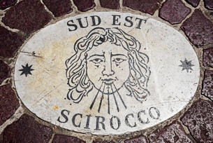 Sud Est, Scirocco, wind rose, wind direction, marble slabsのイラスト素材 [FYI02707368]