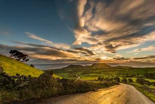 Road through green hilly countryside at sunrise withの写真素材 [FYI02707411]