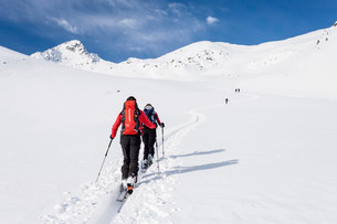 Ski tourers during the ascent of Mt Stolz in Lagauntalの写真素材 [FYI02707429]