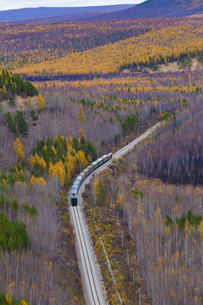 Overlooking of the Train on the rail road in the middle of the forest. Mohe; Heilongjiang;Chinaの写真素材 [FYI02707540]