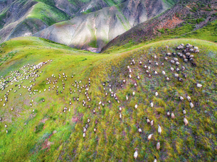 aerial photography of Xia He country,Chinaの写真素材 [FYI02707662]