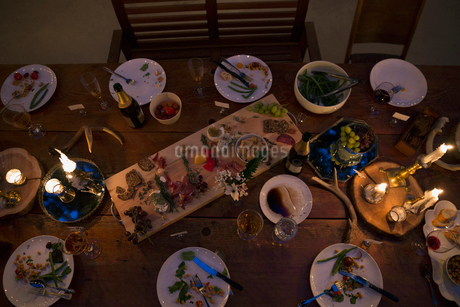 Candles illuminating food on dining table at nightの写真素材 [FYI02708051]