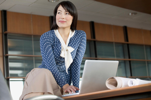 pretty businesswoman in modern officeの写真素材 [FYI02708271]