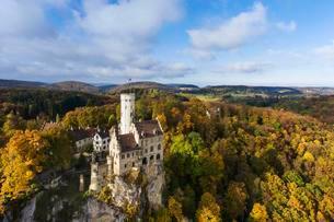 Lichtenstein Castle, historicism, aerial view, Swabianの写真素材 [FYI02708744]