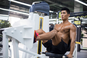 Young man exercising at gymの写真素材 [FYI02708771]