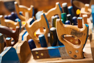 Close up of a woodworking tools in a boat-builder's workshop.の写真素材 [FYI02708896]