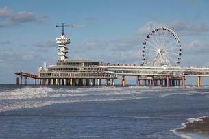 Pier with bungee jumping tower and Ferris wheelの写真素材 [FYI02708992]