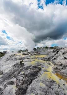 Steaming Pohutu Geyser and Prince of Wales Feathers Geyserの写真素材 [FYI02709151]