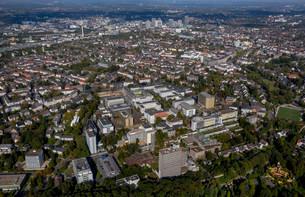Aerial view, University Hospital Essen, Essen, Ruhrの写真素材 [FYI02709420]
