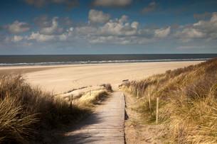 Boardwalk to the main beach, East Frisian Island ofの写真素材 [FYI02709486]