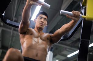 Young man exercising at gymの写真素材 [FYI02709815]