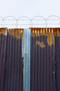 Worn corrugated metal fence, razor wire above.の写真素材 [FYI02709907]