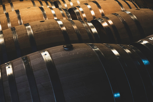 Oak wine barrels in a winery.の写真素材 [FYI02710058]