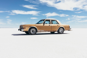 Old Pontiac parked on Salt Flatsの写真素材 [FYI02710588]
