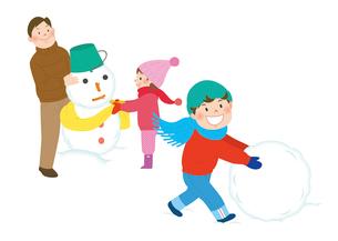 家族と雪遊び2のイラスト素材 [FYI02720282]