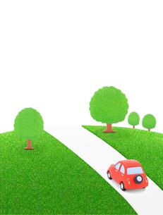 赤い粘土の車と樹木の写真素材 [FYI02722174]