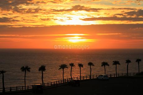 奄美大島 大浜海浜公園より望む東シナ海の夕焼けの写真素材 [FYI02722622]