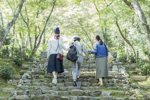 参道を歩く3人の女性の写真素材 [FYI02724920]