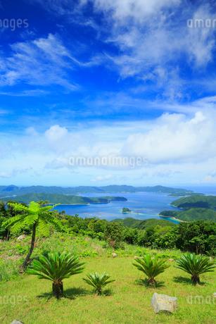 奄美大島 油井岳展望台より望む大島海峡と加計呂麻島の写真素材 [FYI02725382]