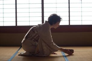 茶道を嗜む50代女性の写真素材 [FYI02726317]