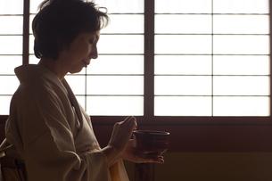 茶道を嗜む50代女性の写真素材 [FYI02728154]