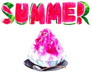 スイカで作ったsummerという文字とイチゴのかき氷のイラスト素材 [FYI02738080]