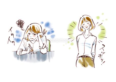 イライラしている女性とスッキリしている女性のイラスト素材 [FYI02738094]