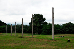 特別史跡大湯環状列石内の柱列の写真素材 [FYI02738120]