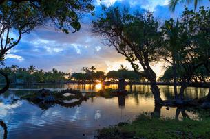ハワイ島マウナラニリゾートの夕陽の写真素材 [FYI02738536]