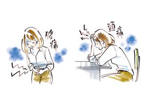 腹痛や頭痛に悩む女性のイラスト素材 [FYI02738756]