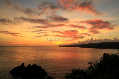 奄美大島 大金久ふれあいパークより望む宮古崎と東シナ海の朝焼けの写真素材 [FYI02739096]
