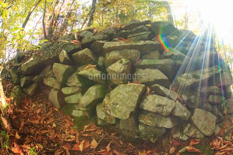 女神岳城跡の石垣と木もれ日,魚眼の写真素材 [FYI02739443]