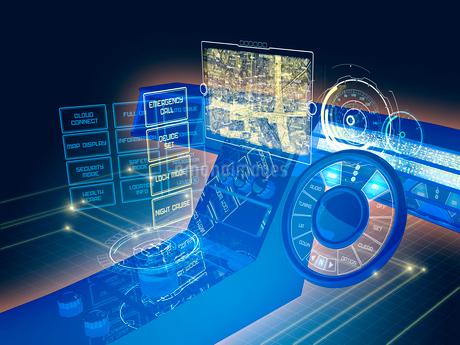 GUI空間表示制御の未来系自動車コックピットのイラスト素材 [FYI02739894]