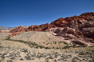 地層と色々な色の岩山が並ぶレッドロックキャニオン国立保護区の写真素材 [FYI02740107]