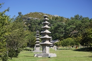 seven-tier pagodas, Unjusa Temple, Jeollanam-do, Koreaの写真素材 [FYI02740152]