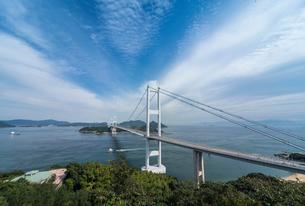 糸山公園展望台より来島海峡大橋を見る風景の写真素材 [FYI02740320]