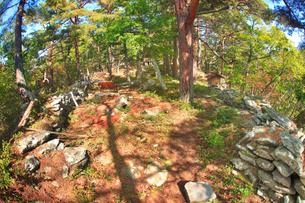 松尾城跡の本郭の石積みと祠の写真素材 [FYI02740888]