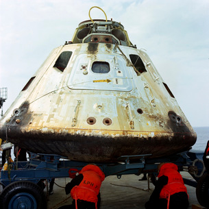 Close-up view of the Apollo 9 Command Module after recovery.の写真素材 [FYI02741612]