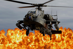 An AH-64D Apache Longbow during a combined arms demonstration.の写真素材 [FYI02741613]