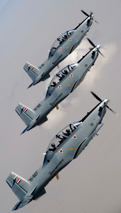 A formation of Iraqi Air Force T-6 Texan trainer aircraft over Tikrit, Iraq.の写真素材 [FYI02741686]