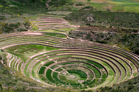 Archaeological site of Moray in the Sacred Valley near Cuzco. Moray - is the name of the Incan ruinsの写真素材 [FYI02741698]