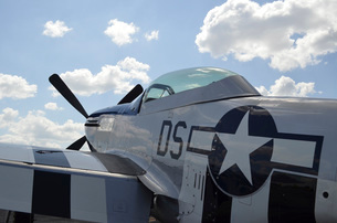 A P-51D Mustang parked on the flight line.の写真素材 [FYI02741854]
