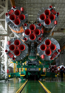 The boosters of the Soyuz TMA-14 spacecraft.の写真素材 [FYI02741871]